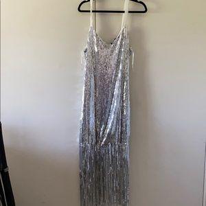 Silver Sequin Fringe Dress